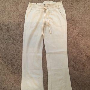 Roxy Oceanside Flared Linen Pants Size Small